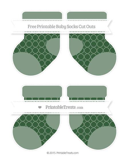 Free Hunter Green Quatrefoil Pattern Medium Baby Socks Cut Outs