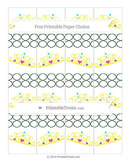Free Hunter Green Quatrefoil Pattern Princess Tiara Paper Chains