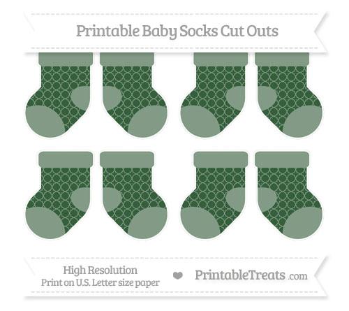 Free Hunter Green Quatrefoil Pattern Small Baby Socks Cut Outs