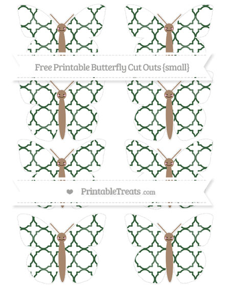 Free Hunter Green Quatrefoil Pattern Small Smiley Butterfly Cut Outs