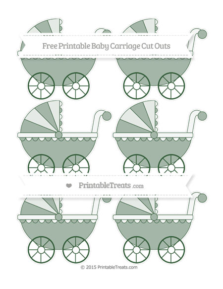 Free Hunter Green Small Baby Carriage Cut Outs