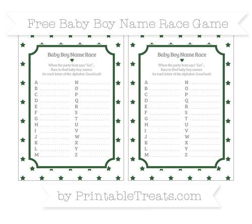 Free Hunter Green Star Pattern Baby Boy Name Race Game