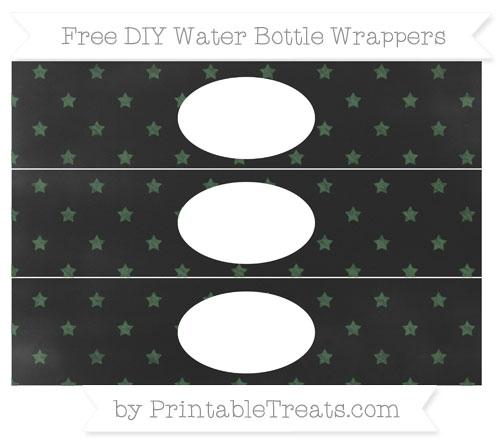 Free Hunter Green Star Pattern Chalk Style DIY Water Bottle Wrappers