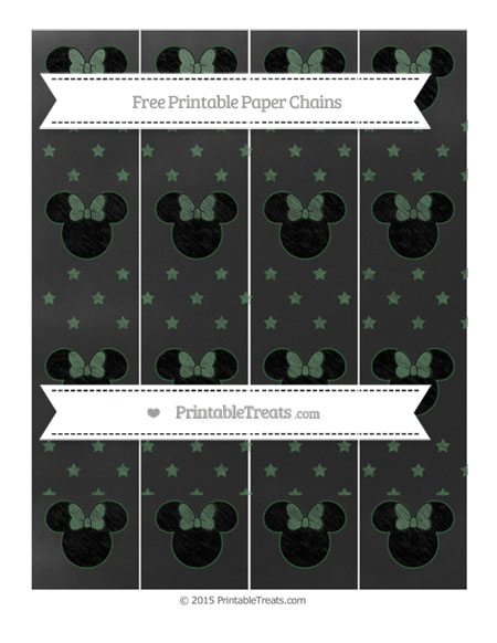Free Hunter Green Star Pattern Chalk Style Minnie Mouse Paper Chains