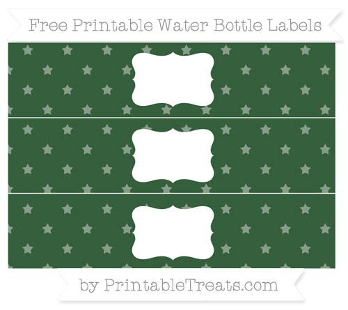 Free Hunter Green Star Pattern Water Bottle Labels