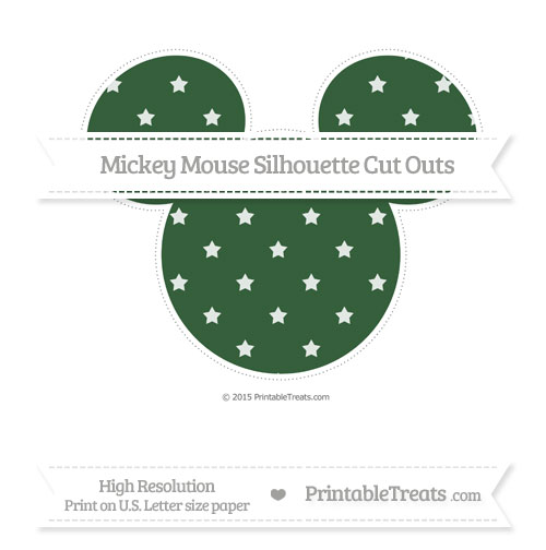 Free Hunter Green Star Pattern Extra Large Mickey Mouse Silhouette Cut Outs