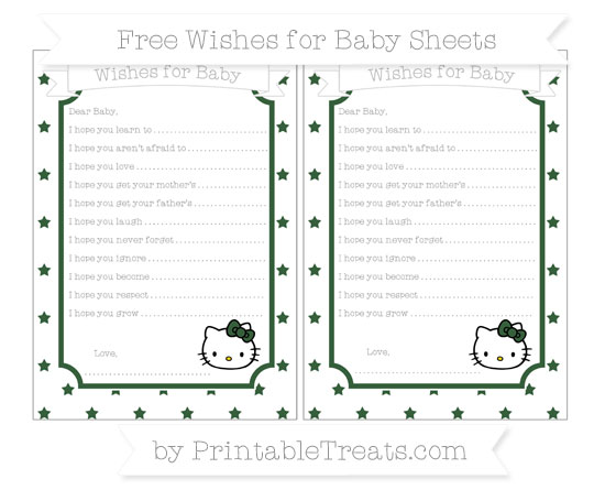 Free Hunter Green Star Pattern Hello Kitty Wishes for Baby Sheets