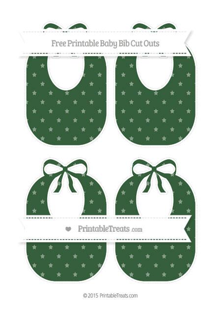 Free Hunter Green Star Pattern Medium Baby Bib Cut Outs