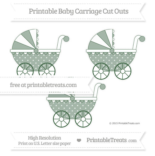 Free Hunter Green Star Pattern Medium Baby Carriage Cut Outs