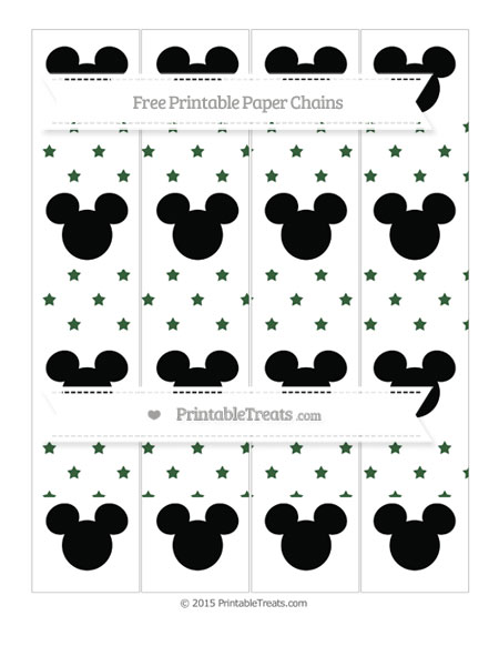 Free Hunter Green Star Pattern Mickey Mouse Paper Chains