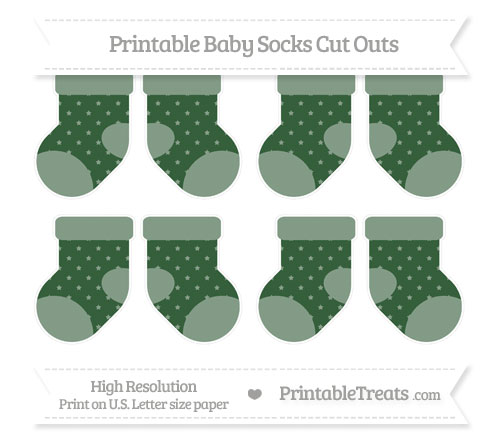 Free Hunter Green Star Pattern Small Baby Socks Cut Outs