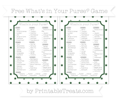 Free Hunter Green Star Pattern What's in Your Purse Baby Shower Game