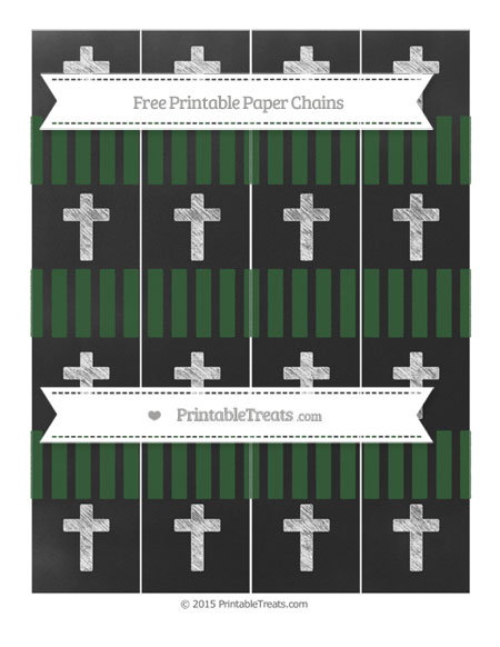 Free Hunter Green Striped Chalk Style Cross Paper Chains