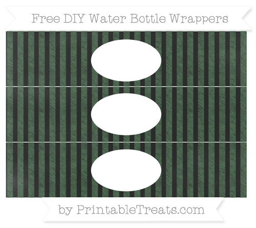 Free Hunter Green Striped Chalk Style DIY Water Bottle Wrappers