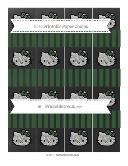 Free Hunter Green Striped Chalk Style Hello Kitty Paper Chains