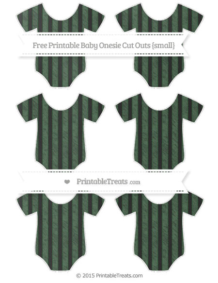 Free Hunter Green Striped Chalk Style Small Baby Onesie Cut Outs