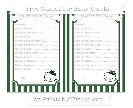 Free Hunter Green Striped Hello Kitty Wishes for Baby Sheets
