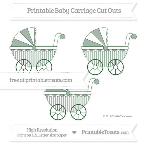 Free Hunter Green Striped Medium Baby Carriage Cut Outs