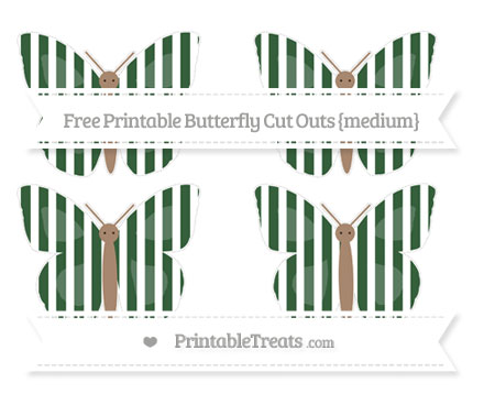 Free Hunter Green Striped Medium Butterfly Cut Outs