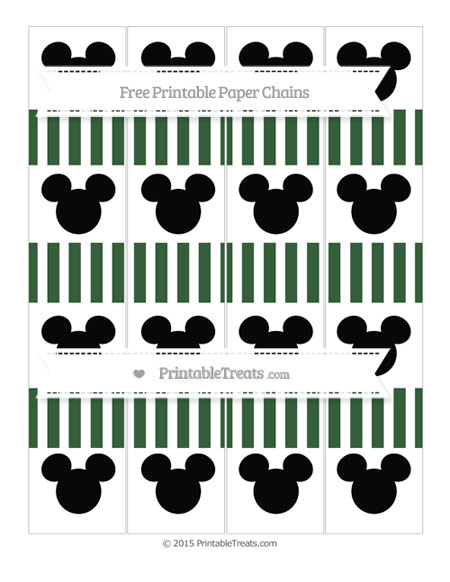 Free Hunter Green Striped Mickey Mouse Paper Chains
