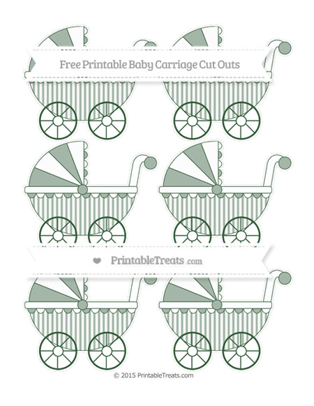 Free Hunter Green Striped Small Baby Carriage Cut Outs
