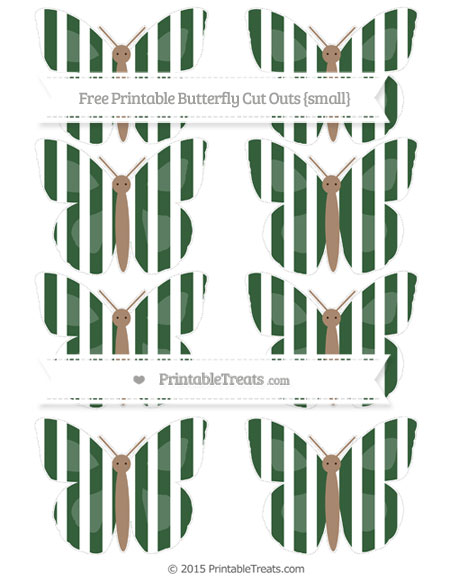 Free Hunter Green Striped Small Butterfly Cut Outs