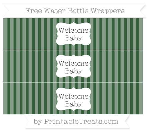 Free Hunter Green Striped Welcome Baby Water Bottle Wrappers