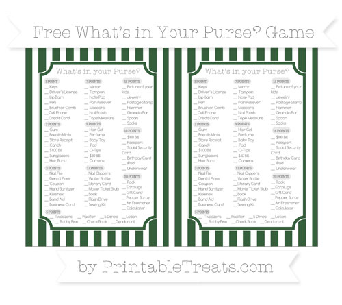 Free Hunter Green Striped What's in Your Purse Baby Shower Game