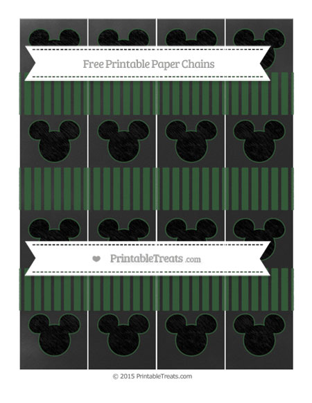 Free Hunter Green Thin Striped Pattern Chalk Style Mickey Mouse Paper Chains