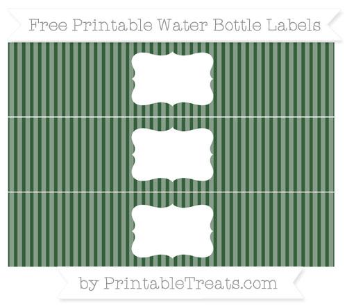 Free Hunter Green Thin Striped Pattern Water Bottle Labels