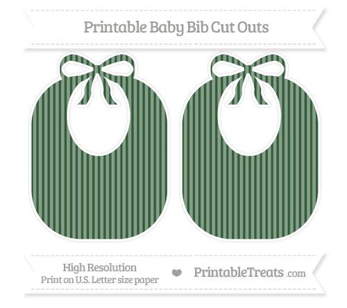 Free Hunter Green Thin Striped Pattern Large Baby Bib Cut Outs