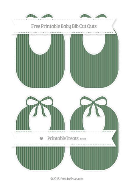 Free Hunter Green Thin Striped Pattern Medium Baby Bib Cut Outs
