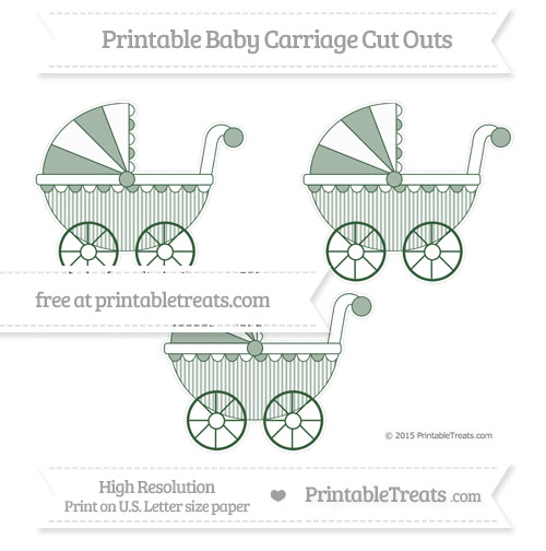 Free Hunter Green Thin Striped Pattern Medium Baby Carriage Cut Outs