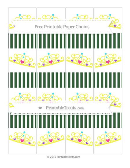 Free Hunter Green Thin Striped Pattern Princess Tiara Paper Chains
