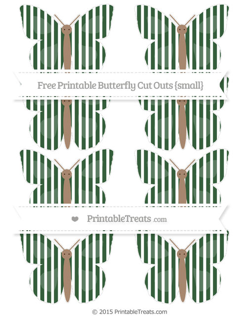 Free Hunter Green Thin Striped Pattern Small Butterfly Cut Outs