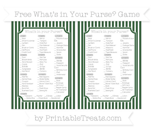Free Hunter Green Thin Striped Pattern What's in Your Purse Baby Shower Game