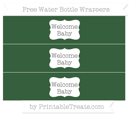 Free Hunter Green Welcome Baby Water Bottle Wrappers