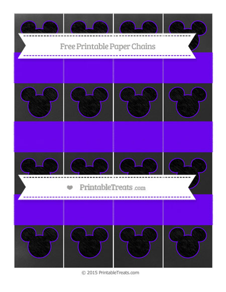 Free Indigo Chalk Style Mickey Mouse Paper Chains