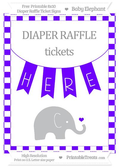 Free Indigo Checker Pattern Baby Elephant 8x10 Diaper Raffle Ticket Sign