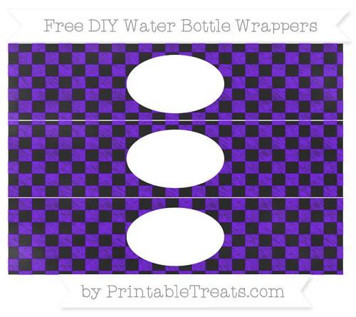 Free Indigo Checker Pattern Chalk Style DIY Water Bottle Wrappers