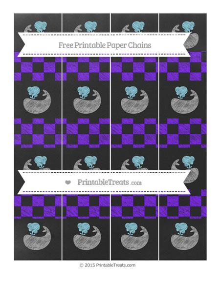 Free Indigo Checker Pattern Chalk Style Whale Paper Chains
