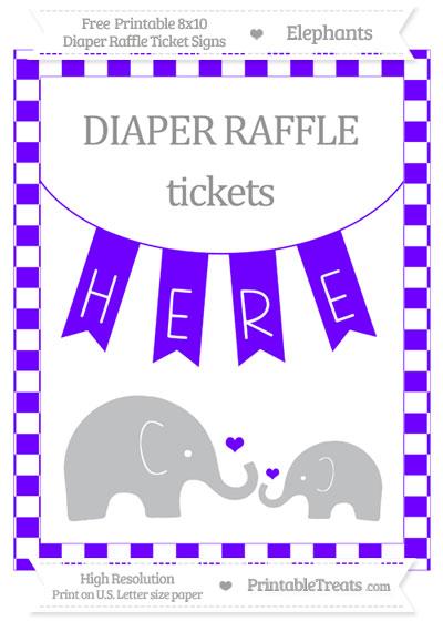 Free Indigo Checker Pattern Elephant 8x10 Diaper Raffle Ticket Sign