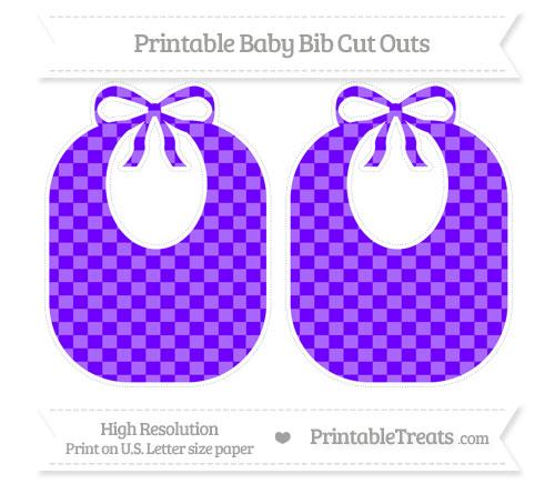 Free Indigo Checker Pattern Large Baby Bib Cut Outs