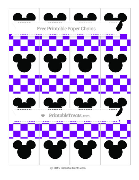 Free Indigo Checker Pattern Mickey Mouse Paper Chains