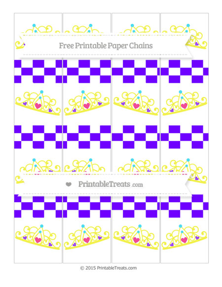 Free Indigo Checker Pattern Princess Tiara Paper Chains