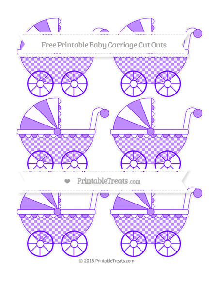 Free Indigo Checker Pattern Small Baby Carriage Cut Outs