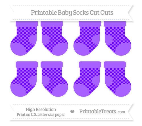 Free Indigo Checker Pattern Small Baby Socks Cut Outs