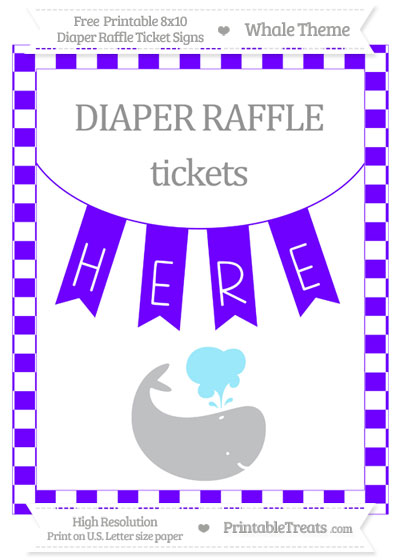 Free Indigo Checker Pattern Whale 8x10 Diaper Raffle Ticket Sign