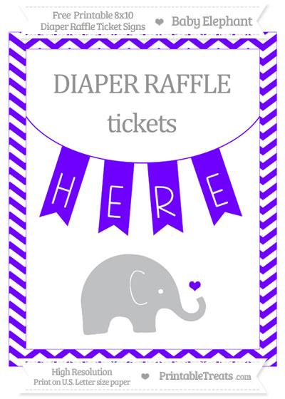 Free Indigo Chevron Baby Elephant 8x10 Diaper Raffle Ticket Sign