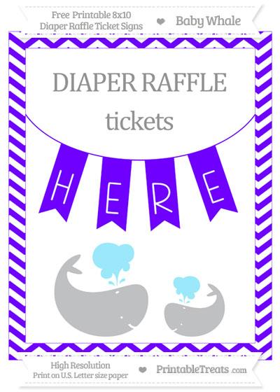 Free Indigo Chevron Baby Whale 8x10 Diaper Raffle Ticket Sign